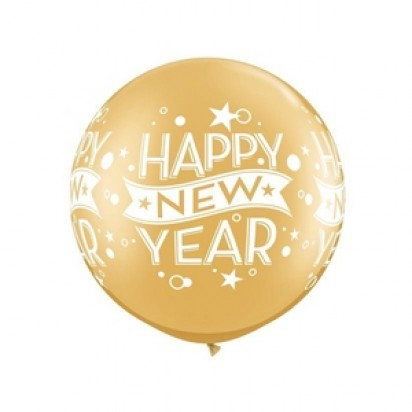 3ft. New Year Confetti Gold Large Helium Balloon