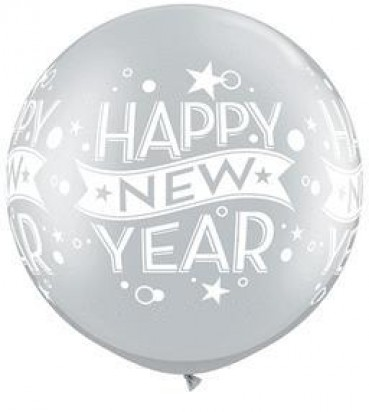 3' New Year Confetti Silver Large Helium Balloon