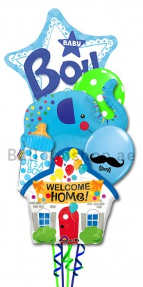 New Born Baby Boy Welcome Home Balloon Bouquet