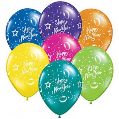 "11"" Jewel New Year Assortment Helium Printed Balloons (Set of 7)"