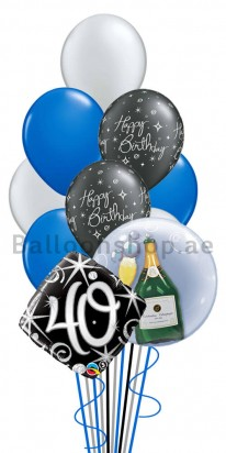 Mega Jumbo Double Bubble 40th Birthday Balloon Arrangement