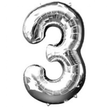 Silver Number 3 Balloon 35""