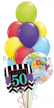 Mega Jumbo 50th Birthday Balloon Arrangement