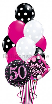 50th Birthday Girl Helium Balloon Bouquet