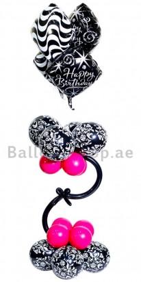 Black and Pink Damask Birthday Balloon Arrangement