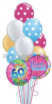 60th Birthday Color Blast Helium Balloon Bouquet