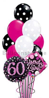60th Birthday Girl Helium Balloon Bouquet