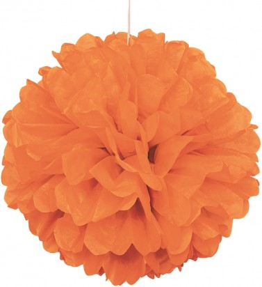 Orange Pom Pom Decoration, 16-Inch