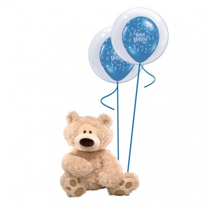Premium Gund - Balloon inside Balloon (Blue) Balloon Arrangement