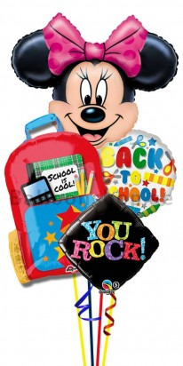 Back To School Minnie Mouse Helium Foil Balloon Bouquet
