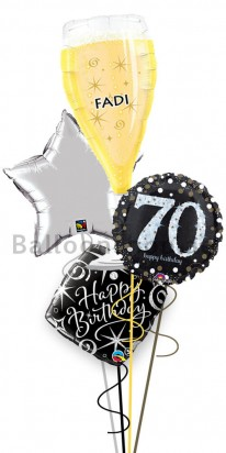 Mega Jumbo Personalized Ultimate 70th birthday Balloon Arrangement