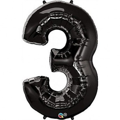 "34"" Black Number 3 Helium Foil Balloon"