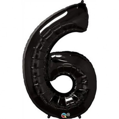 "34"" Black Number 6 Helium Foil Balloon"
