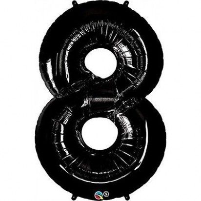 "34"" Black Number 8 Helium Foil Balloon"