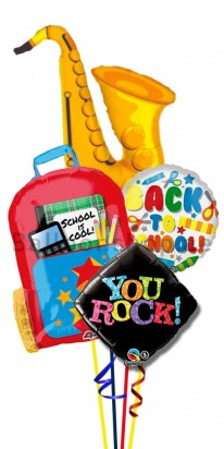 Back To School Saxophone Helium Foil Balloon Bouquet