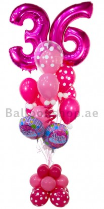 Any Age Pink Birthday Balloon Arrangement