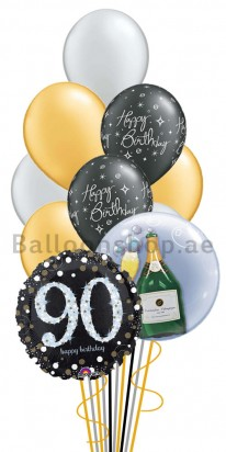 Mega Jumbo Double Bubble 90th Birthday Balloon Arrangement