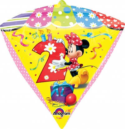"16"" Minnie Age 2 UltraShape Diamondz Helium Foil Balloon"