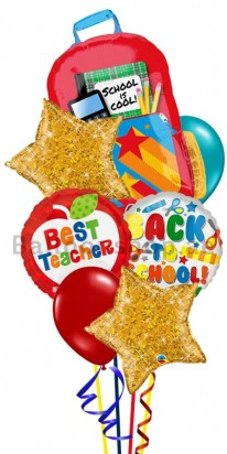 Back To School Best Teacher Helium Balloon Bouquet