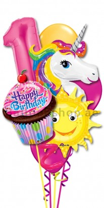 Colorful Unicorn First Birthday Girl Balloon Bouquet