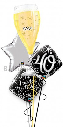 Mega Jumbo Personalized Ultimate 40th Birthday Balloon Arrangement