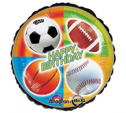 "18"" Birthday Sports Helium Foil Balloon"