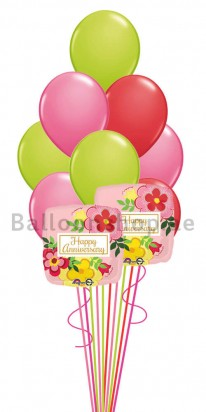 12 Balloons Floral Anniversary Balloon Bouquet