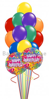14 Balloons Colorful Anniversary Balloon Bouquet
