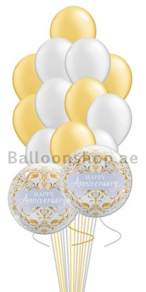 14 Balloons Gold & Silver Bubbles Anniversary Balloon Bouquet