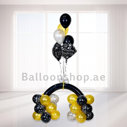 Gold and Black Birthday Balloon Arrangement