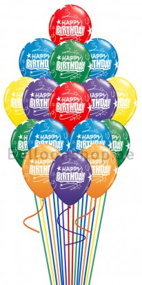 Mixed Colors Birthday Balloon Bouquet