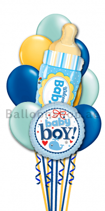 Welcome Baby Boy Newborn Balloon Bouquet