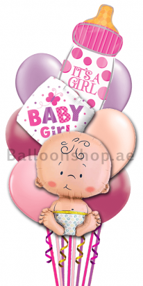 It's A Girl Newborn Baby Balloon Bouquet