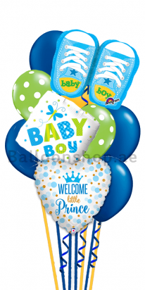 Welcome Little Prince Newborn Baby Balloon Bouquet