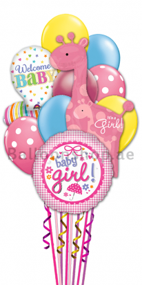 Welcome Baby Girl Newborn Baby Balloon Bouquet