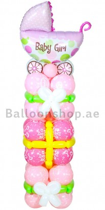 Baby Girl New Born Balloon Tower