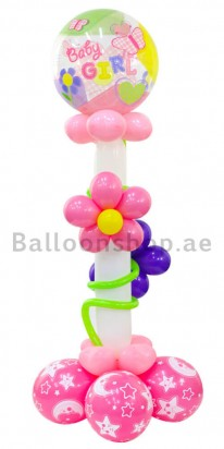 Floral Baby Girl New Born Balloon Column