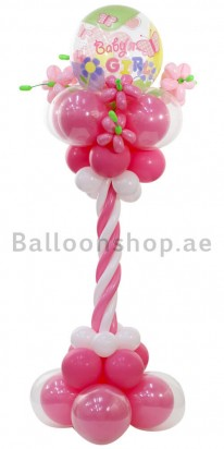 Floral Baby Girl New Born Balloon Arrangement