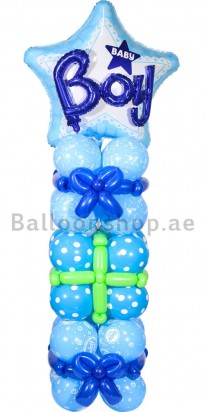 Baby Boy Star Baby Shower Balloon Column