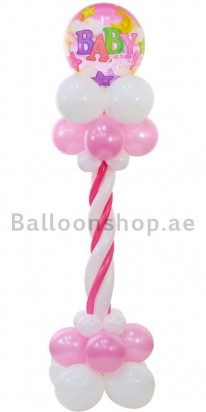 Baby Girl Baby Shower Balloon Column