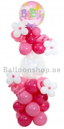 Baby Girl Floral Balloon Arrangement