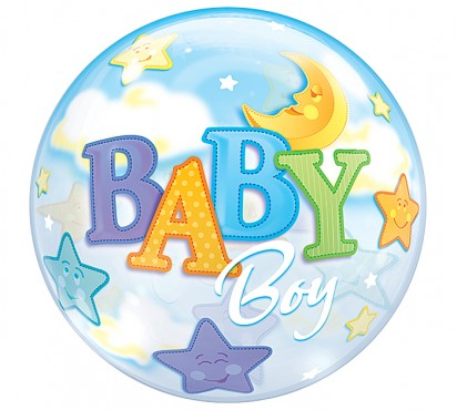 "22"" Moon and Stars Baby Boy Bubble"