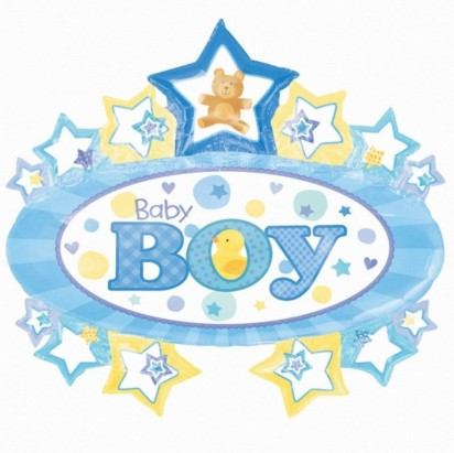 "28"" Baby Boy Marquee Helium Foil Balloon"