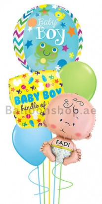 Personalized Orbz Boy Newborn Jumbo Balloon Bouquet