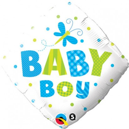 "18"" Baby Boy Dragonfly And Dots Helium Foil Balloon"