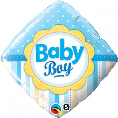 "18"" Baby Boy Dots And Stripes Helium Foil Balloon"