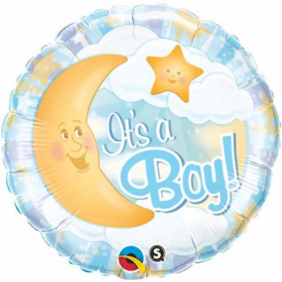 "18"" Its A Boy Celestial Blue Helium Foil Balloon"