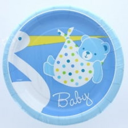 "8"" Baby Boy Stork Normal Party Plates (8ct)"