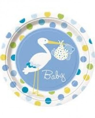 "7"" Baby Boy Stork Normal Party Plates (8 ct)"