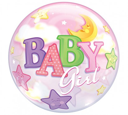 "22""  Stars and Moon Baby Girl Bubble"